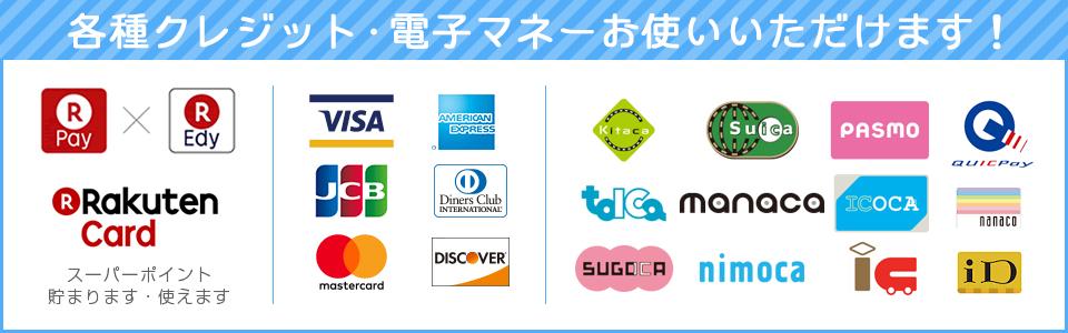 0:各種クレジットカードおよび電子マネーがお使いいただけます。