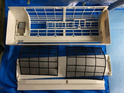 エアコン外装カバー・フィルター洗浄前/防府市