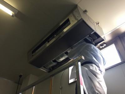 天井吊るし型エアコンクリーニング施工前/周南市