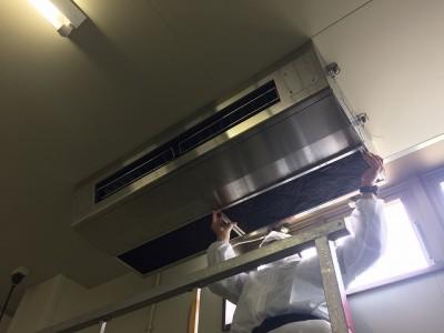 天井吊るし型エアコンクリーニング施工前後/周南市