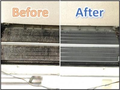 エアコンクリーニングの熱交換器のクリーニングビフォーアフターになります。
